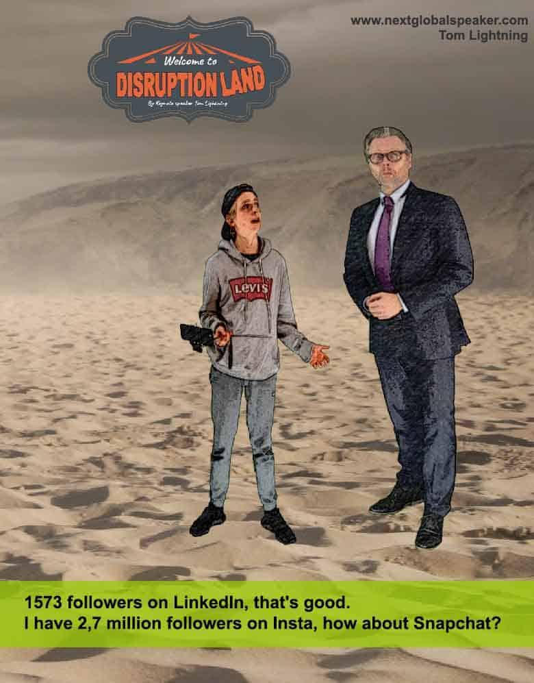 Webcartoon by Tom Lightning, Global Keynote Speaker, Welcome to Disruptionland, nextglobalspeaker.com